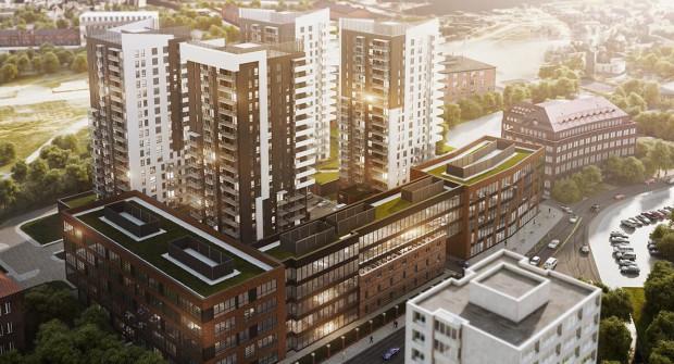 Najnowsza wizualizacja inwestycji Bastion Wałowa. Widoczne jest zachowanie fragmentu elewacji budynku oraz jego ogrodzenia.