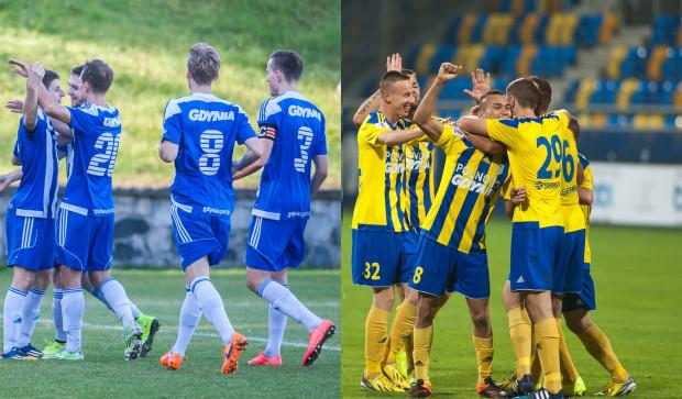 Tak eksponowane jest logo Gdyni na koszulkach meczowych Arki (z prawej) i Bałtyku (z lewej).