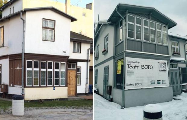 Zobacz jak wyglądał budynek, gdzie mieści się Teatr Boto, przed remontem (maj 2015 - po lewej stronie) i po remoncie (styczeń 2016 - po prawej).
