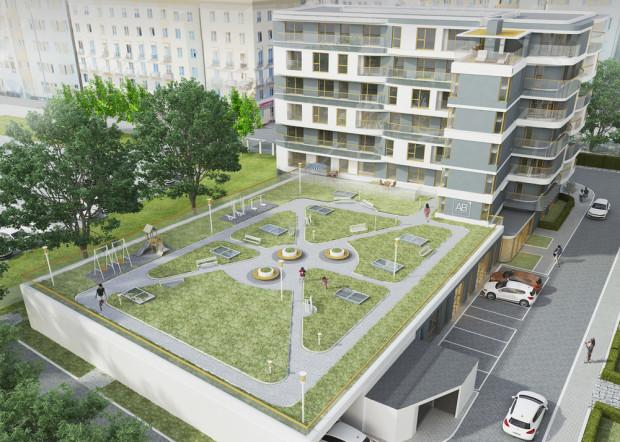 Batorego 7. Na dachu części parterowej prowadzącej w głąb podwórka powstanie ogród dostępny tylko dla mieszkańców apartamentowca.