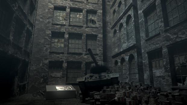 Na tej wizualizacji widać jak docelowo ma wyglądać sala obrazująca zniszczone po 1945 r. miasto.