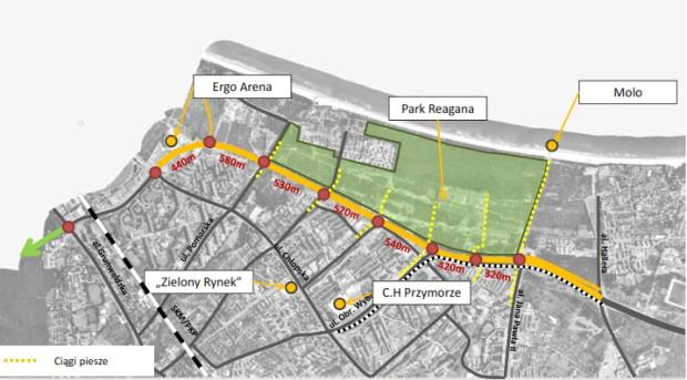 Proponowane lokalizacje przejść dla pieszych przez Zielony Bulwar (Drogę Zieloną).