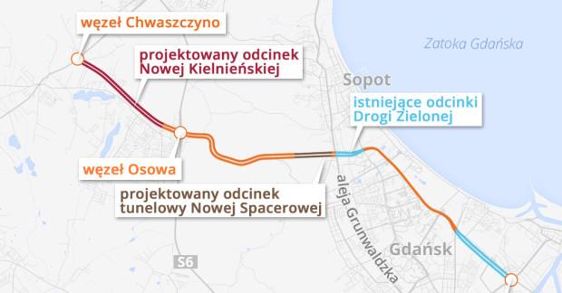 Nowa Kielnieńska, Nowa Spacerowa i Zielony Bulwar pozwolą na domknięcie ramy komunikacyjnej. Oprócz dróg, planuje się też tramwaj i buspasy.