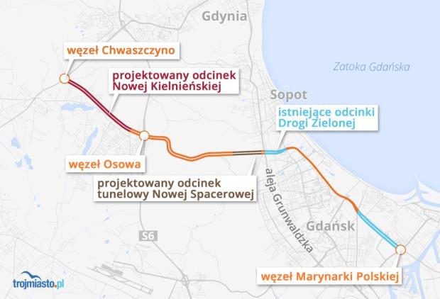 Kolorem brązowym został oznaczony odcinek tunelowy na Drodze Zielonej - tzw. tunel pod Pachołkiem.