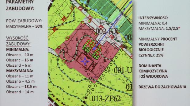 Parametry zabudowy terenu, gdzie funkcjonuje dzisiaj restauracja Parkowa. Dojazd będzie się odbywał przez skrzyżowanie na wysokości wjazdu na parking przy ul. Błękitnej (poza planem).