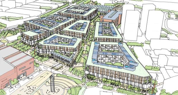 Tak może wyglądać nowa zabudowa na Młodym Mieście, która powstałaby zamiast wielkiego centrum handlowego. Po prawej widać zarys czterech 55-metrowych wieżowców Bastionu Wałowa.