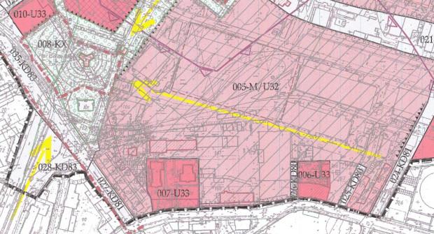 Fragment planu zagospodarowania Młodego Miasta. Koncepcja lekceważy oś widokową z rejonu ul. Rybaki Górne (024-KD81) na Pomnik Poległych Stoczniowców 1970.