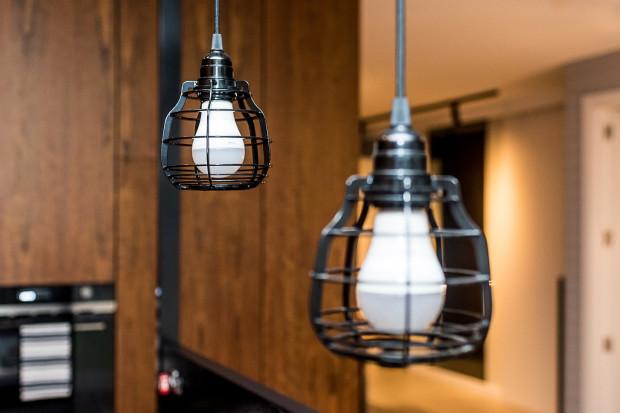 Dekoracyjne, punktowe oświetlenie w kuchni.
