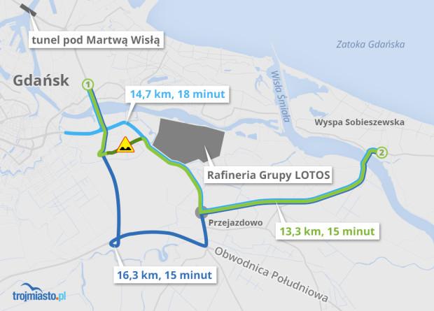 Mapa podpowiadająca dojazdy do Wyspy Sobieszewskiej.