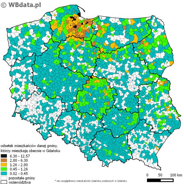 Odsetek mieszkańców danej gminy, którzy mieszkają obecnie w Gdańsku.