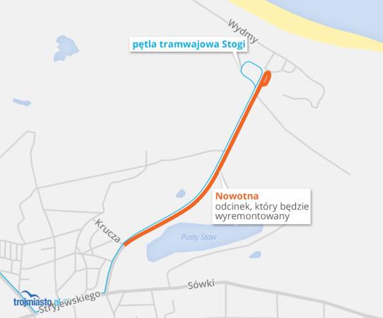 Zakres prowadzonej przebudowy ul. Nowotnej.