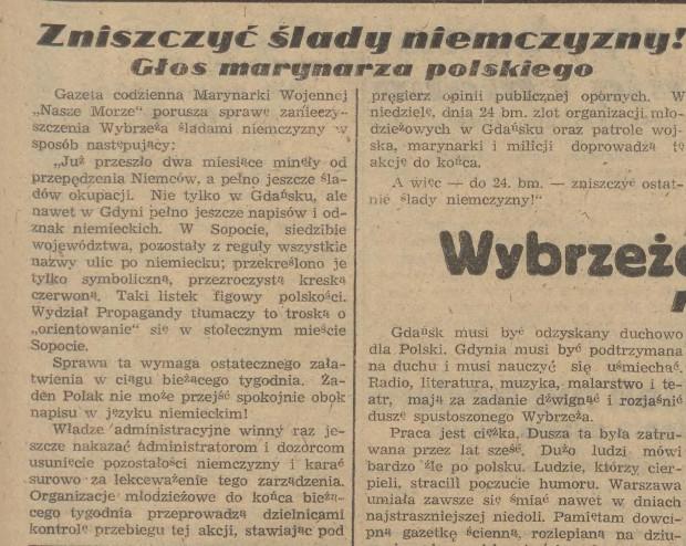 """Jeden z apeli na łamach prasy gdańskiej o """"zniszczenie wciąż obecnych śladów niemczyzny"""", """"Dziennik Bałtycki"""" 16 czerwca 1945 r."""