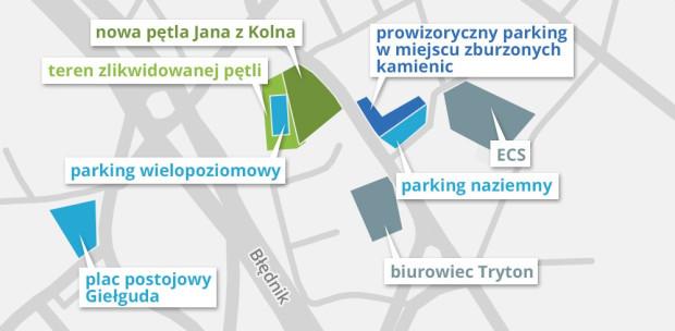 Lokalizacja starej i nowej pętli oraz placu postojowego przy ul. Giełguda.