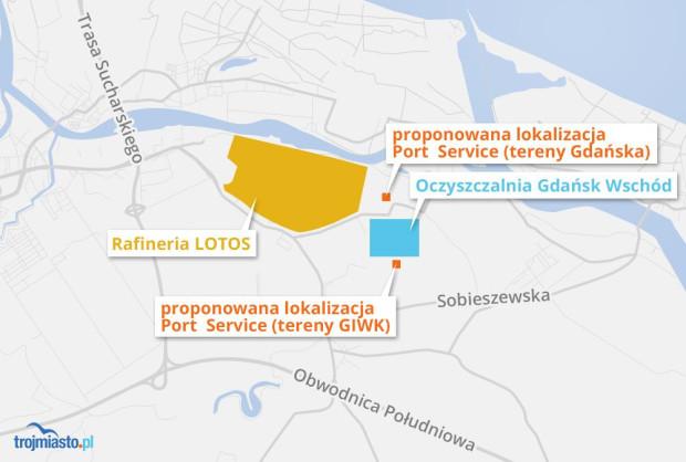 Proponowane nowe lokalizacje Port Service: jedna miałaby być usytuowana na południe od oczyszczalni ścieków Wschód (teren w dyspozycji GIWK), druga na terenach znajdujące się na północ od oczyszczalni (własność Gdańska).