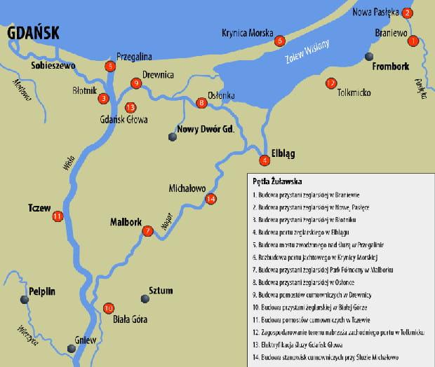 Przystanie i porty zbudowane lub zmodernizowane w ramach Pętli Żuławskiej.