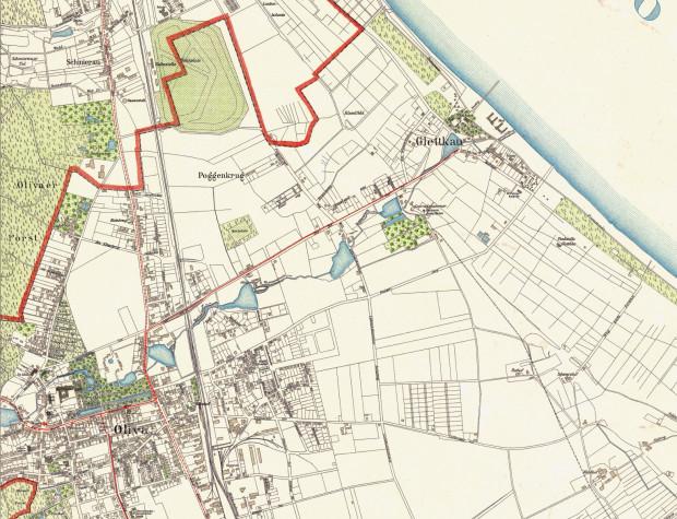 Fragment planu Oliwy z Jelitkowem z 1933 r. Czerwoną linią oznaczono granicę z Sopotem. Ze zbiorów prywatnych.