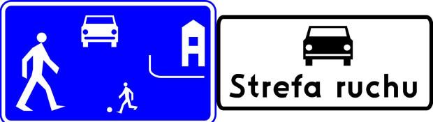 Znak strefa zamieszkania (po lewej) daje pierwszeństwo pieszym. Znak strefa ruchu oznacza, że obowiązują tam takie same zasad jak na każdej drodze.