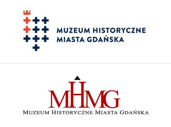 Nowy logotyp Muzeum Historycznego Miasta Gdańska (u góry) zastąpił dotychczasowy, stworzony na bazie skróconej nazwy muzeum (na dole).