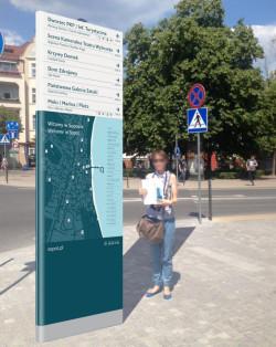 Propozycja tablicy informacyjnej z mapą miasta (tzw. totem)
