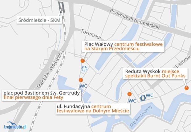 Zobacz lokalizacje centrów festiwalowych, czyli punktów informacyjnych i miejsce, gdzie zagrane będą ostatnie spektakle dnia.