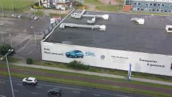 Zapadnięty dach w budynku należącym kiedyś do Media Markt.