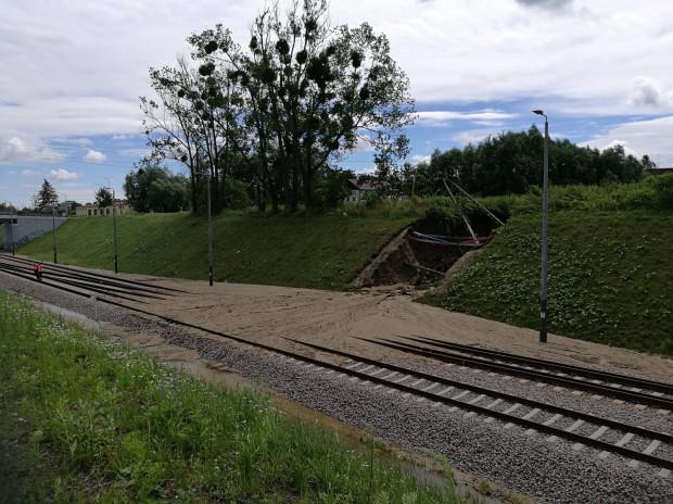 Zniszczone torowisko PKM-ki na Karczemkach.