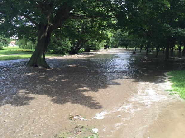 Masa wody ze zbiornika Subisława rozlewa się po parku