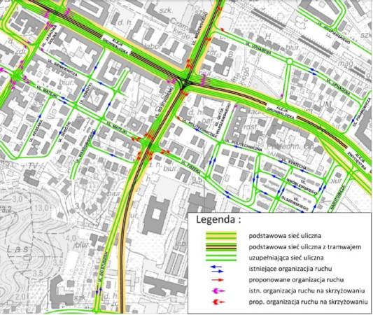 Zespół dr. Kazimierza Jamroza sugeruje poprowadzenie tramwaju na wprost przez skrzyżowanie Grunwaldzkiej-Do Studzienki-Miszewskiego, a także dobudowanie trzeciej nitki torów wzdłuż al. Grunwaldzkiej, w kierunku ul. Jaśkowa Dolina.