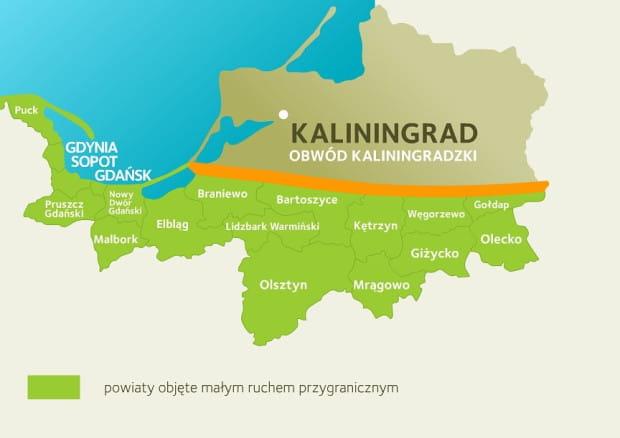 Z dobrodziejstw małego ruchu granicznego mogą korzystać mieszkańcy obwodu kaliningradzkiego i wskazanych na mapie powiatów województwa warmińsko-mazurskiego i pomorskiego.