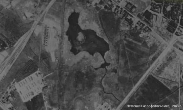 Jezioro Zaspa na radzieckim zdjęciu lotniczym z okresu II wojny światowej. Wkrótce po jej zakończeniu, zatopiono tutaj wiele gruzów ze zniszczonego Gdańska.