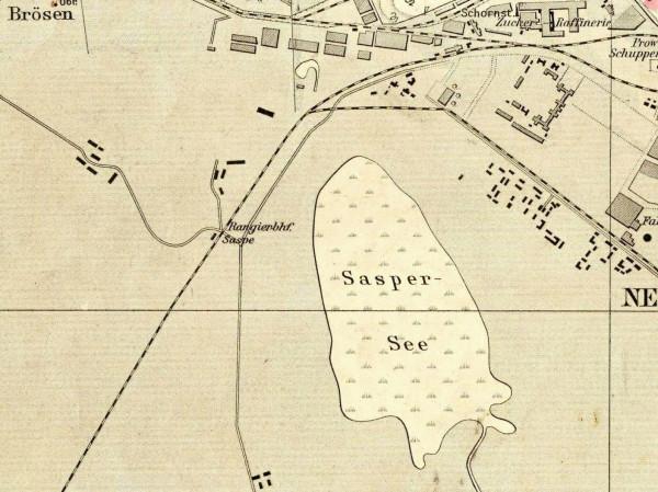 Jezioro Zaspa na niemieckim planie Gdańska z 1909 roku.