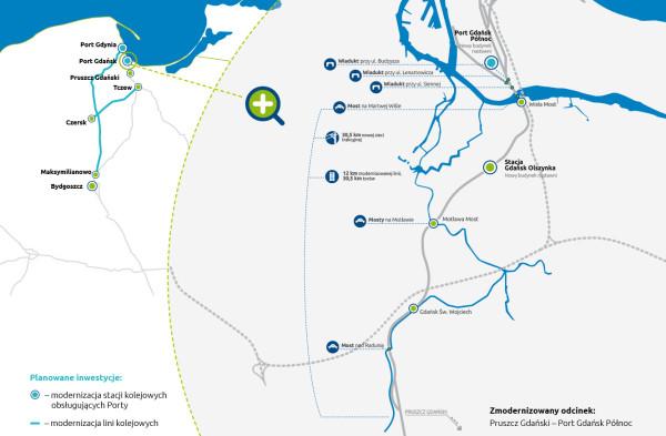 Projekt poprawy dostępu kolejowego do Portu Gdańsk (most i dwutorowa linia kolejowa).