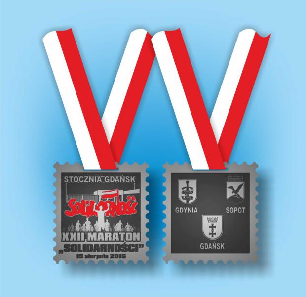 """Taki medal otrzymają ci, którzy ukończą XXII Energa Maraton """"Solidarności"""""""
