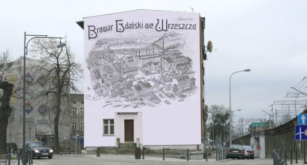 Wizualizacja muralu na ścianie kamienicy przy ul. Białej.