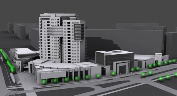 Wizja zabudowy terenu u zbiegu ul. Pomorskiej i Gospody z ok. 55-metrowym wieżowcem mieszkalnym (plan dopuszczał zabudowę do 60 m wysokości).