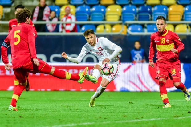 Tym strzałem Dariusz Formella otworzył wynik spotkania młodzieżowych reprezentacji Polska - Czarnogóra.