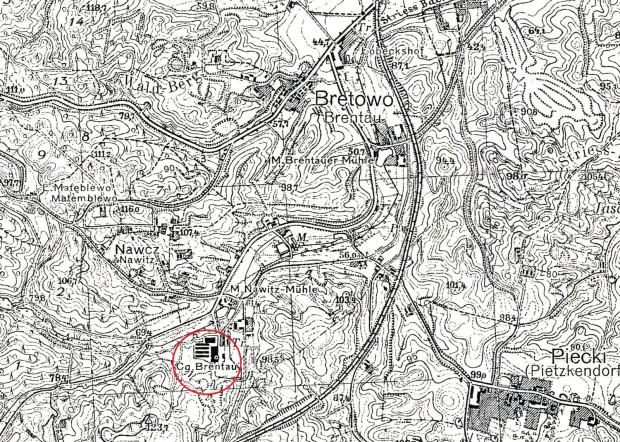 Fragment mapy Gdańska opracowanej w polskim Wojskowym Instytucie Geograficznym z 1938 r.