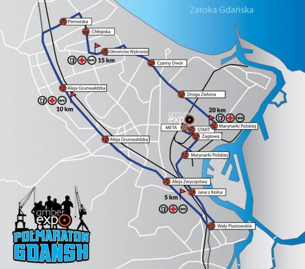 Trasa gdańskiego półmaratonu.
