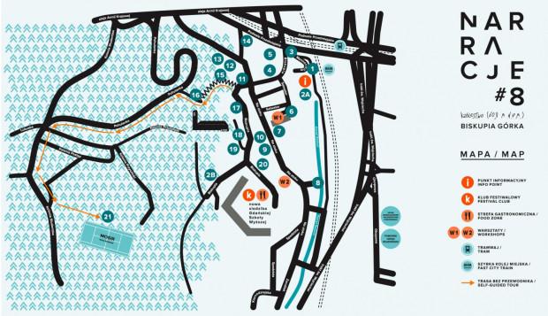 Mapa poszczególnych punktów festiwalu Narracji. Kliknij, by powiększyć.