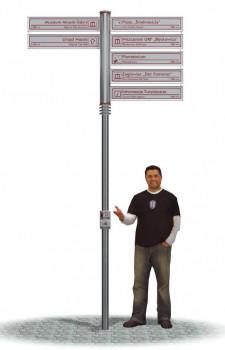 Przykładowy projekt pylonu kierunkowego, który stanie na terenie śródmieścia Gdyni w ramach Systemu Identyfikacji Miejskiej.