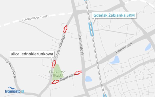 Ruch drogowy przy cmentarzu na ul. Opackiej.