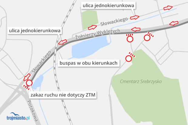 Ruch drogowy przy Cmentarzu Srebrzysko.