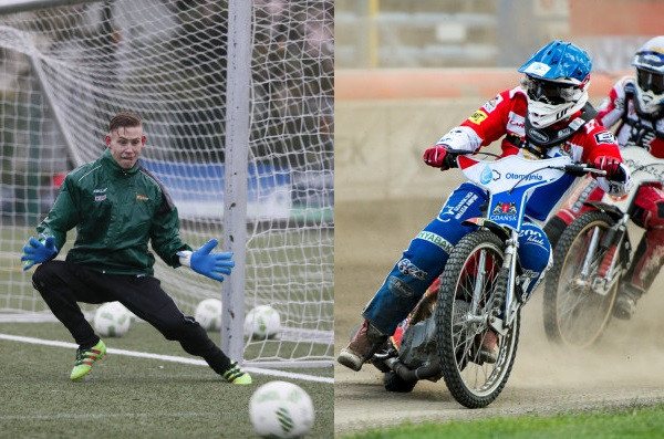 Kevin Dyplin (z lewej) nauczył się jeździć na motocyklu żużlowym, ale w przeciwieństwie do ojca, Magnusa Zetterstroema (z prawej), chce sprawdzić się innej dyscyplinie.