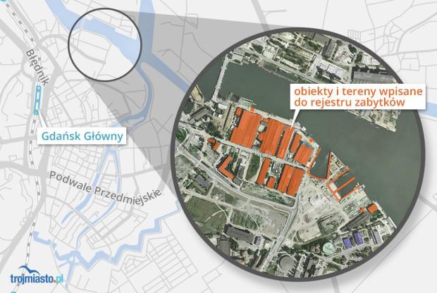 Na pomarańczowo oznaczono tereny, na których znajdują się obiekty wpisane do rejestru zabytków.