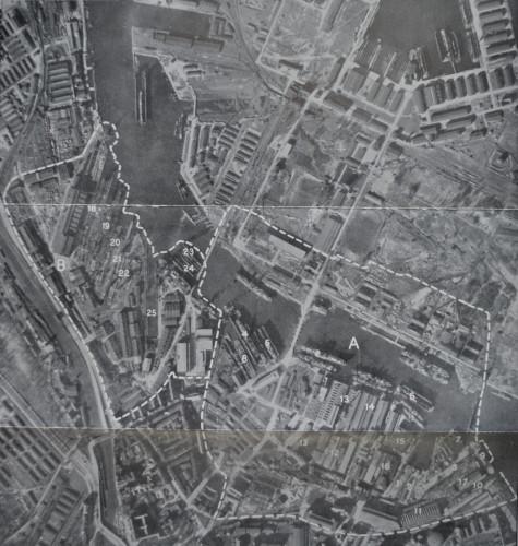 Zdjęcie lotnicze brytyjskiego zwiadu lotniczego z 1942 r. Zaznaczone tereny dwóch największych  stoczni w mieście: Stoczni Gdańskiej oraz Stoczni Schichaua - oddział Gdańsk (źródło: NA, Kew London).