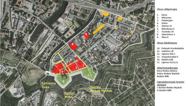 Tereny na Dolnym Mieście, które będzie musiał zagospodarować przyszły inwestor. Kolorem czerwonym oznaczone elementy obowiązkowe, żółtym możliwe do zrealizowania.