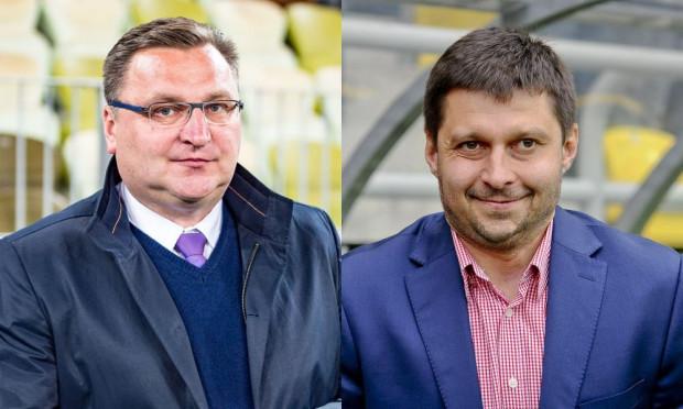 Czesław Michniewicz (z lewej) jako trener jeszcze nie przegrał z Arką Gdynia. Marcin Kaczmarek (z prawej) w roli szkoleniowca zwycięsko zakończył jak na razie jedyny pojedynek przeciwko Lechii Gdańsk.