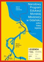 Mapka trasy rejsu dla gimnazjalistów.