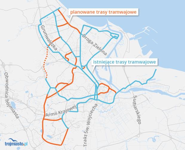 Planowany układ sieci tramwajowej w nowym studium Gdańska.