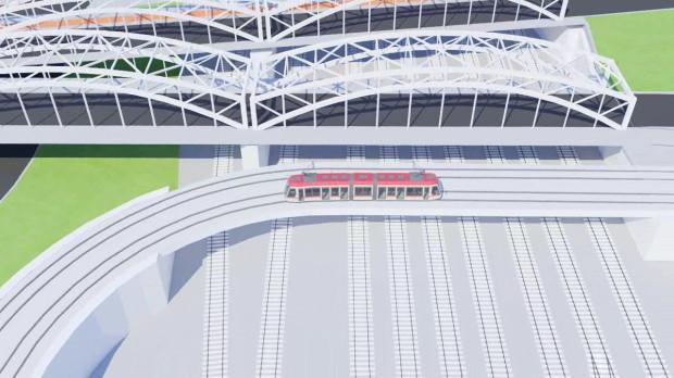 Wizualizacja przejazdu tramwajowego nad torami kolejowymi w rejonie dworca we Wrzeszczu. Na grafice widoczne wiadukty Trasy Słowackiego.